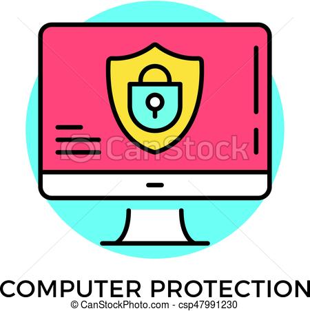 450x452 Computer protection icon. computer with shield and lock on