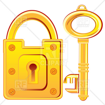 400x400 Door Lock And Key From Gold Royalty Free Vector Clip Art Image