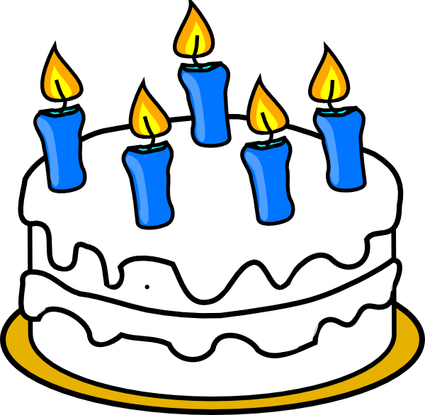 600x586 Birthday Cake With Blue Lit Candles Png, Svg Clip Art For Web