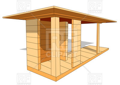 400x283 Wooden Shelter On White Background Royalty Free Vector Clip Art