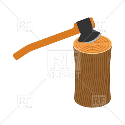 400x400 Log And Axe Isolated Royalty Free Vector Clip Art Image