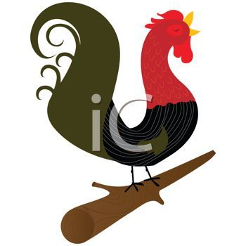350x350 Stylized Rooster Crowing On A Log