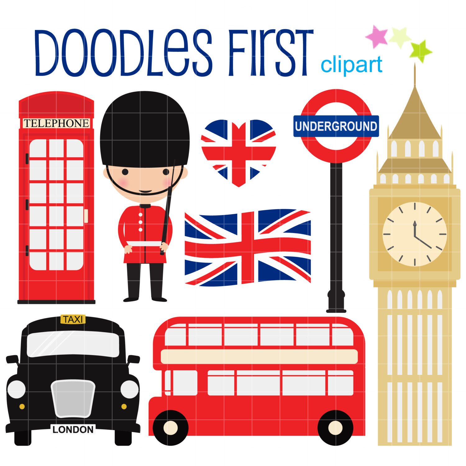 1500x1500 London Collection Digital Clip Art For Scrapbooking Card