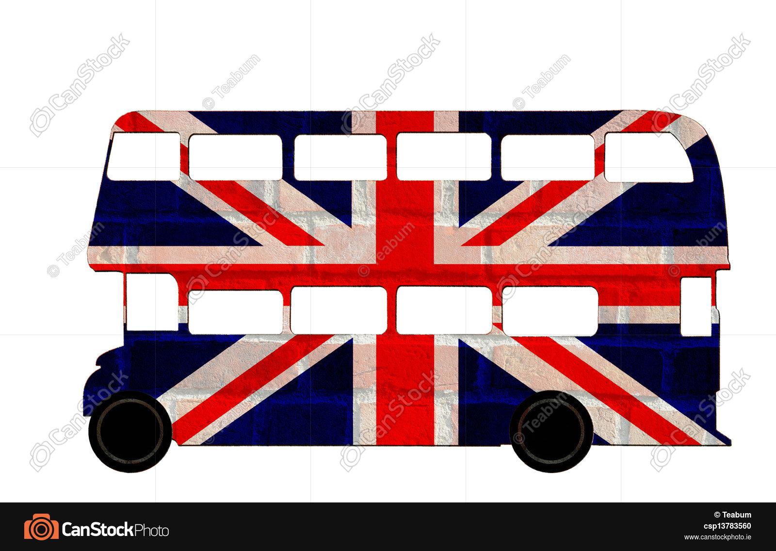 1600x1136 London Bus, British Flag. Illustration Of British Double Stock