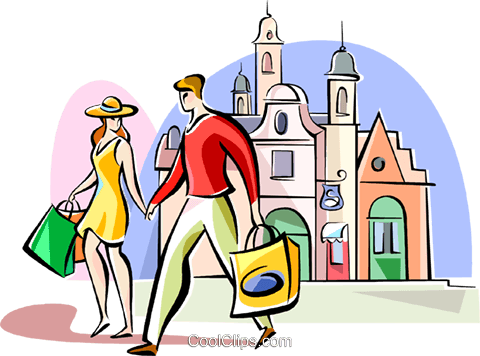 480x356 Couple Shopping In London Royalty Free Vector Clip Art