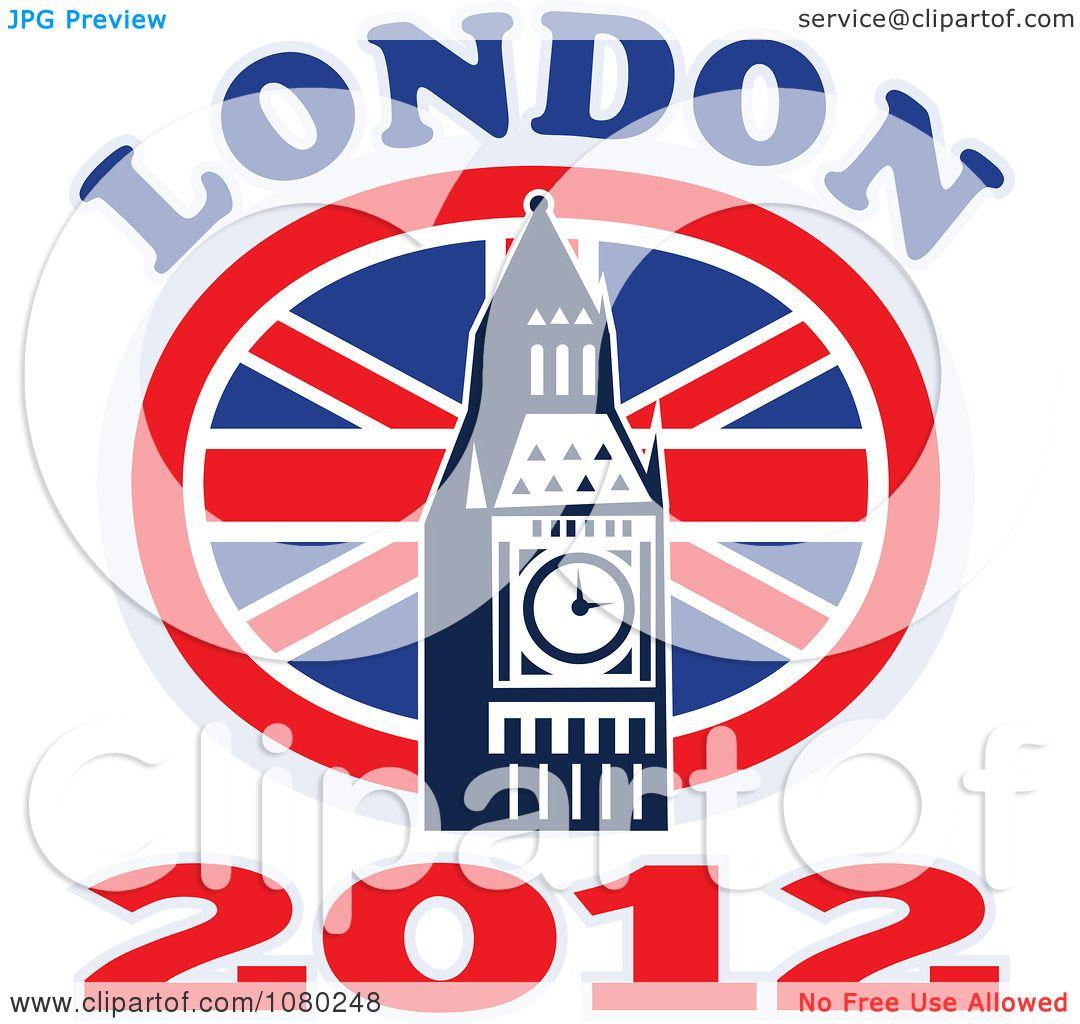 1080x1024 Clipart London 2012 New Year Big Ben And Uk Circle Flag