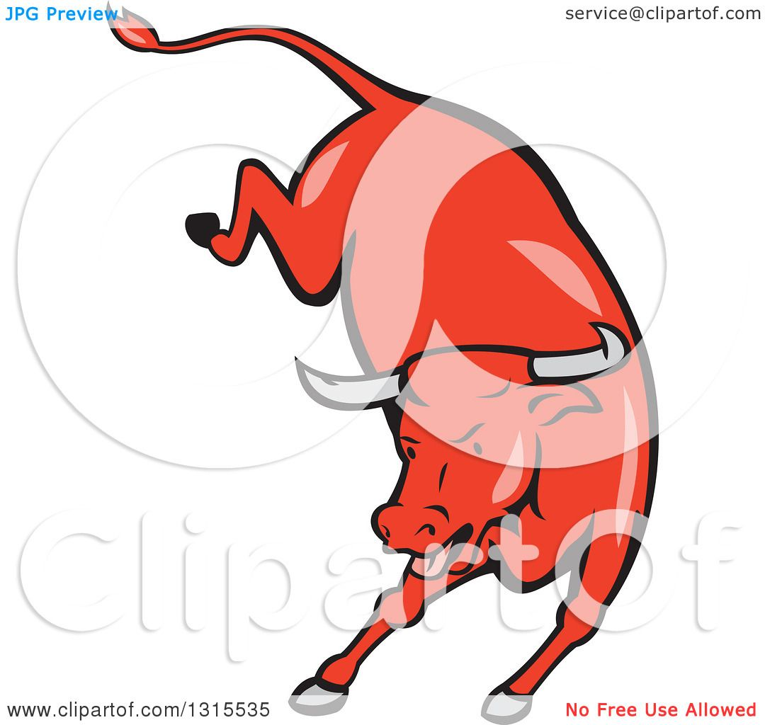 1080x1024 Clipart Of A Retro Cartoon Styled Running Red Texas Longhorn Bull