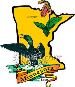 260x300 Yellow State Of Minnesota With State Symbols Of Loon And Lady'S