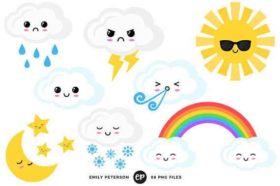 570x379 Kawaii Clip Art, Weather Clipart, Rainbow Clip Art