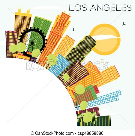 450x452 Los Angeles Skyline With Color Buildings, Blue Sky And Copy