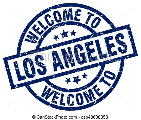 450x383 Welcome To Los Angeles Blue Stamp Clipart Vector
