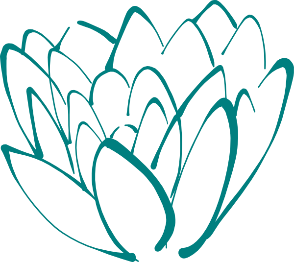 600x535 Teal Lotus Clip Art
