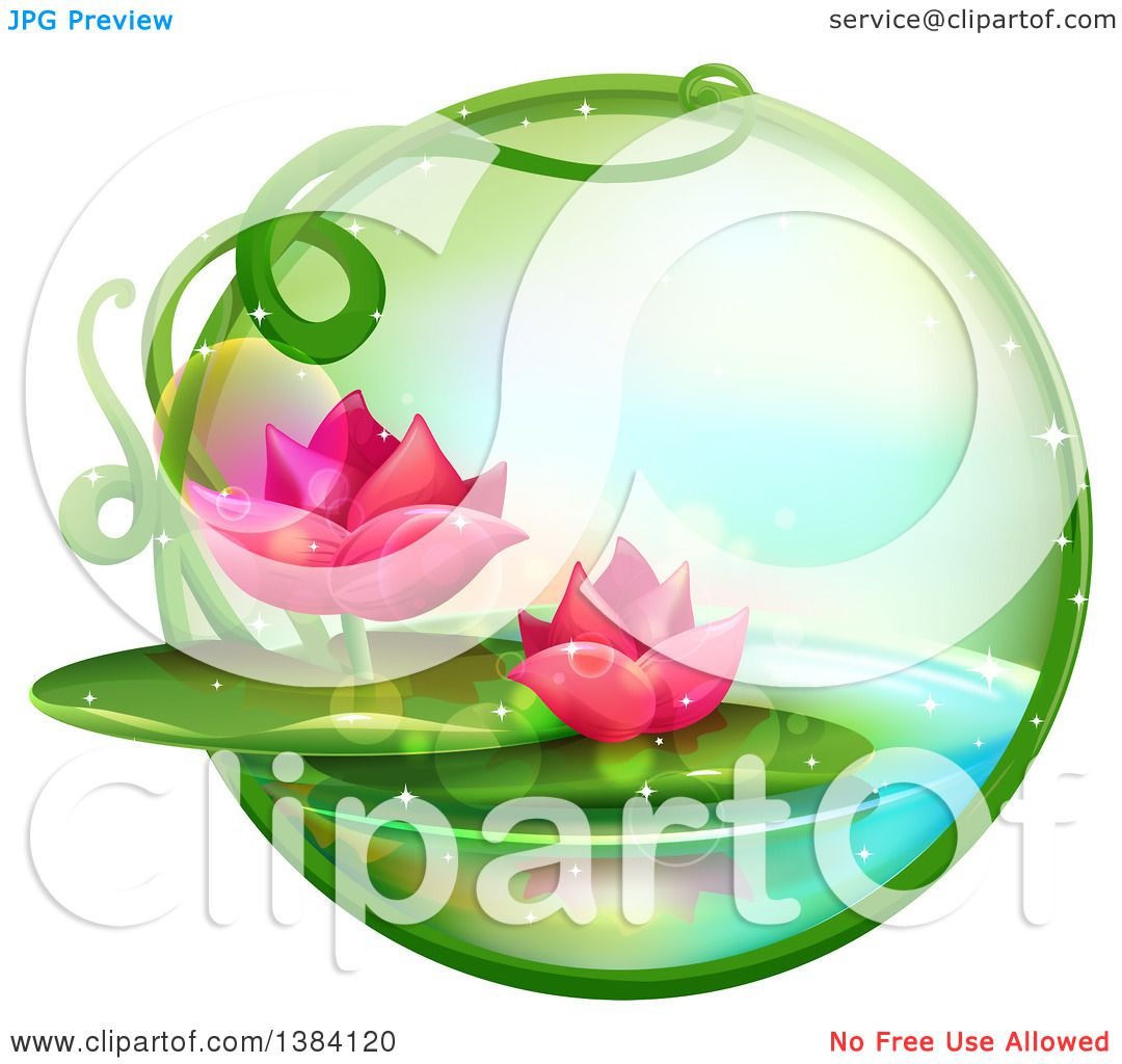 1080x1024 Clipart Of A Green Magical Orb With Pink Water Lily Lotus Flowers