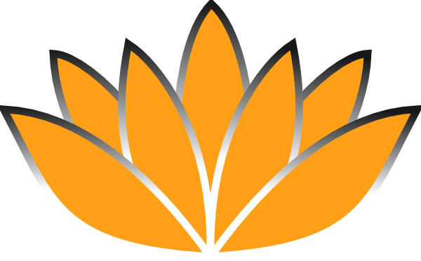 600x372 Orange Lotus Flower Silver Trim Clip Art