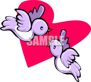 350x317 Love Birds Flying In Front Of A Heart
