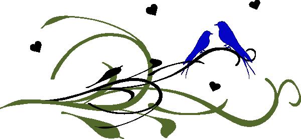 600x278 Blue Love Birds On A Branch Clip Art