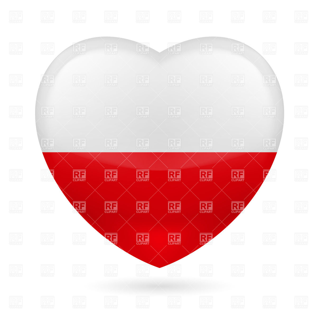 1200x1200 Heart With Polish Flag Colors. I Love Poland Royalty Free Vector