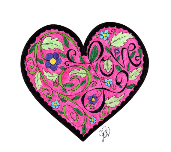 570x505 Heart 2 Coloring Page