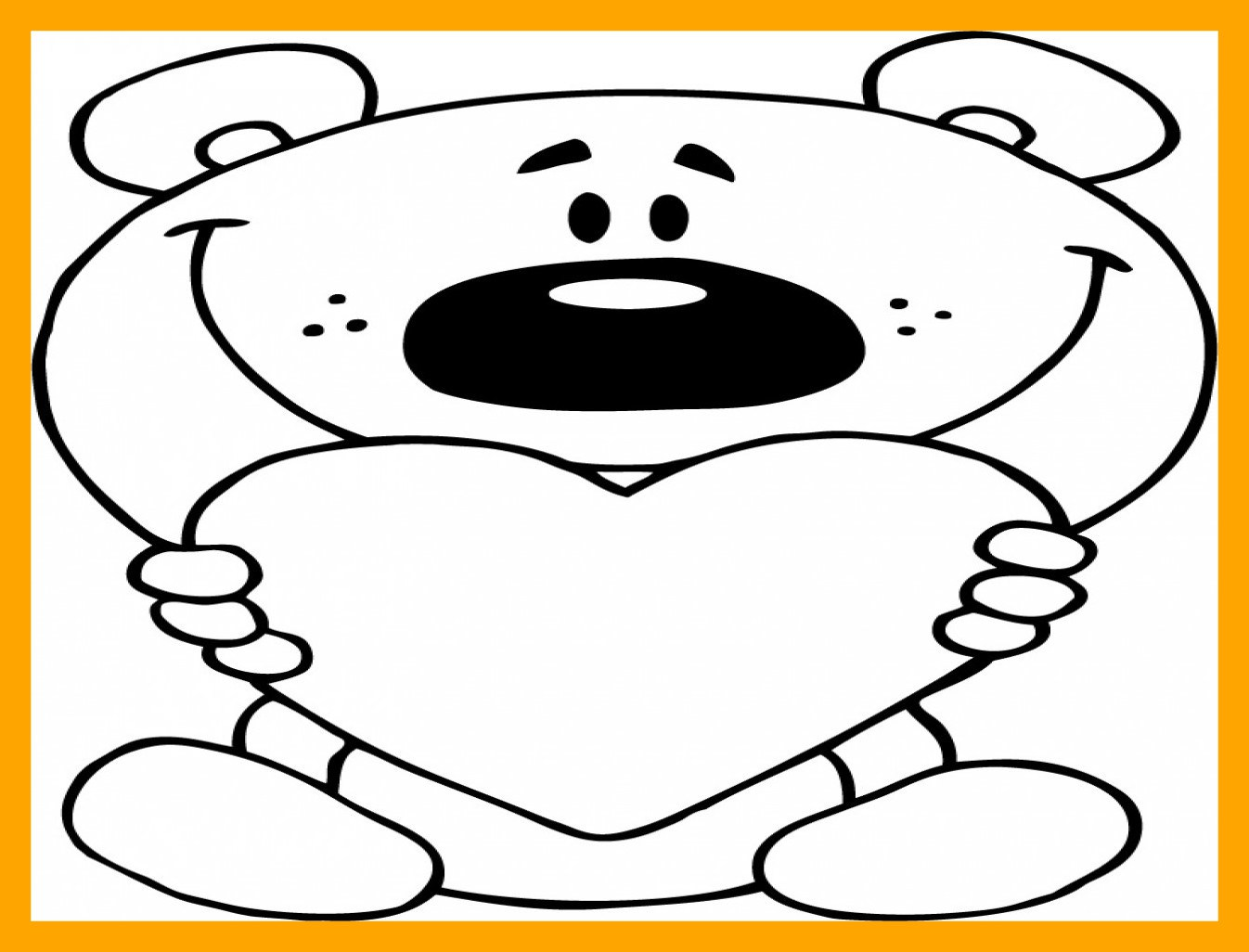 1346x1026 Appealing Cartoon Heart Coloring Love Page Of Teddy Bear Holding