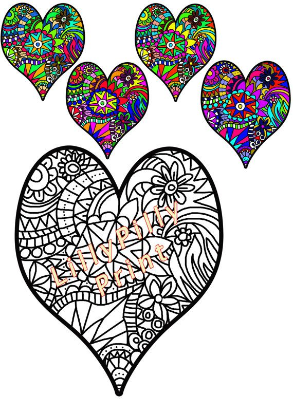 570x806 Heart Colouring In Page Coloring For Adults By Lillypillyprint