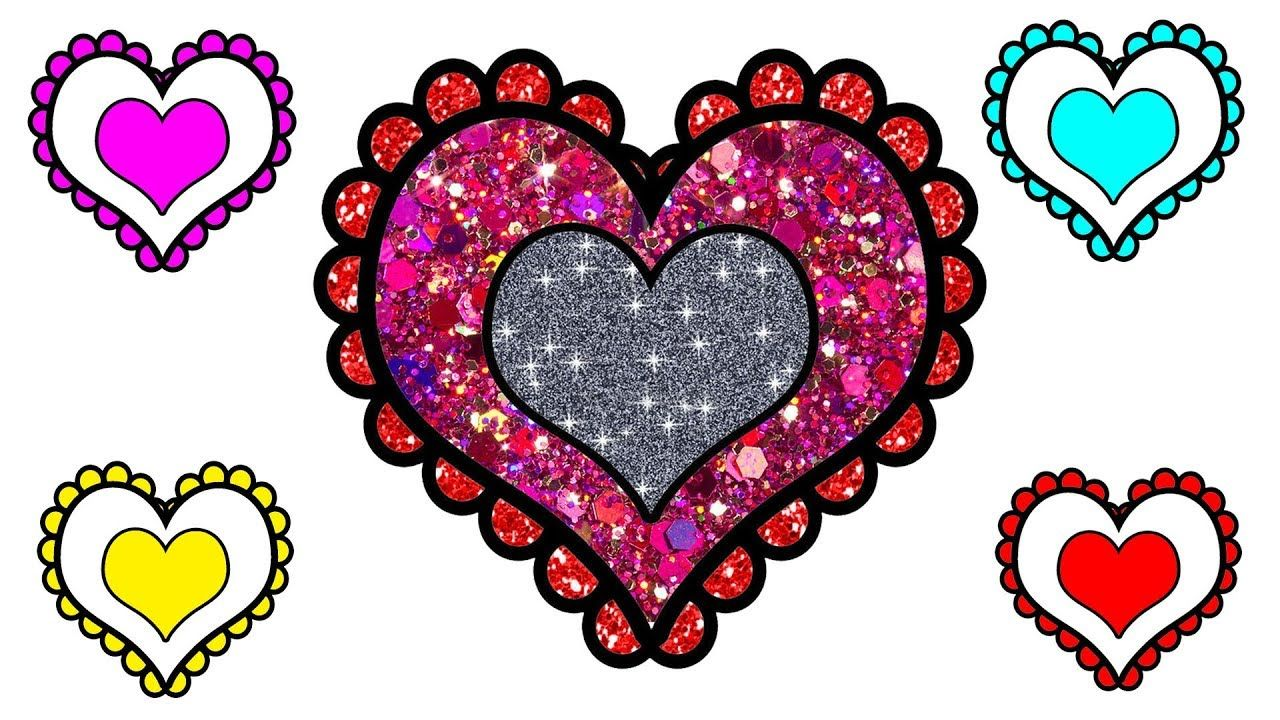 1280x720 Hearts Coloring Pages Glitter Heart Coloring Pages How To Draw