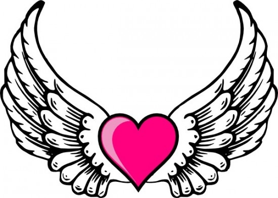550x392 Hearts With Wings And Halo Coloring Pages Printable Printable