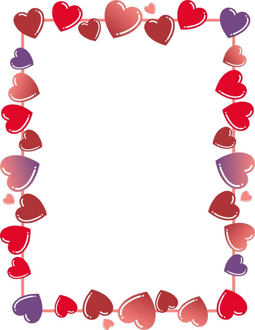 850x1100 Valentine Border Clip Art