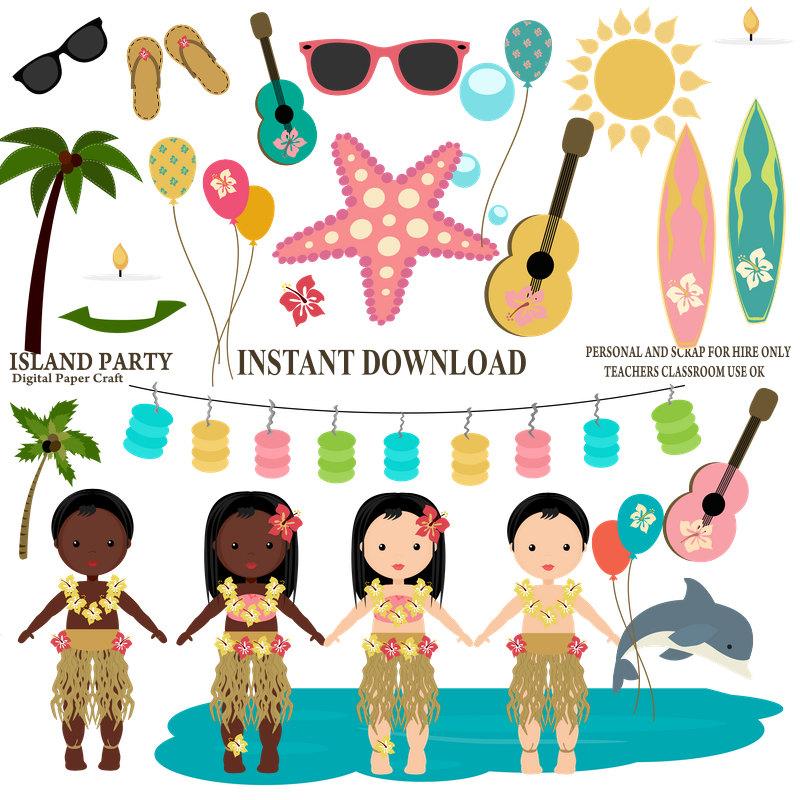 800x800 Island Party Clipart, Hawaiian Clipart, Luau Clipart, Instant