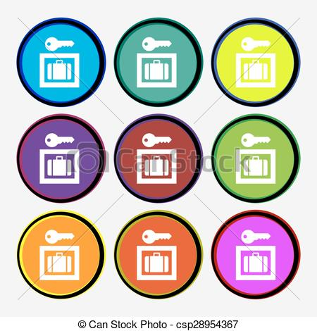 450x470 Luggage Storage Icon Sign. Nine Multi Colored Round Buttons