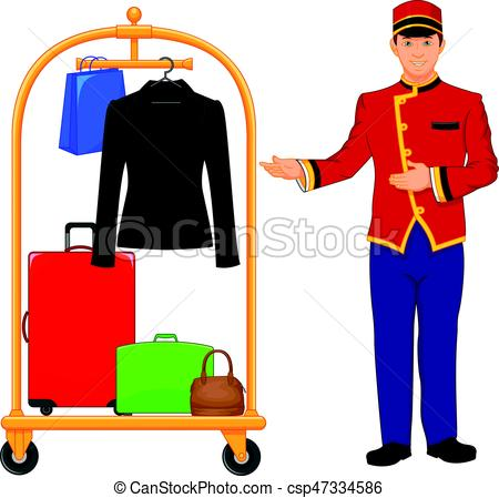 450x449 Vector Illustration Of Bellboy Hotel Service And Luggage Vector