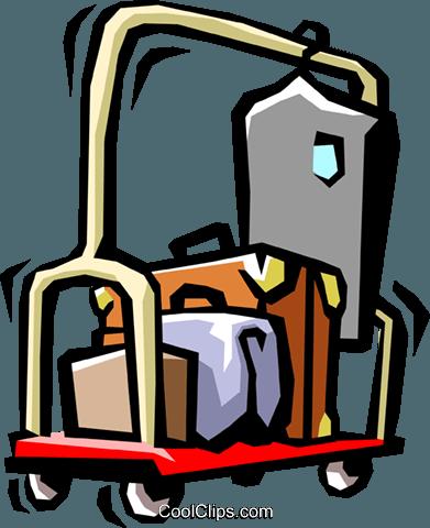 391x480 Hotel Luggage Cart Royalty Free Vector Clip Art Illustration