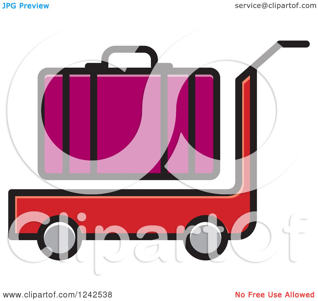 1080x1024 Clipart Of A Red Luggage Cart And Purple Suitcase