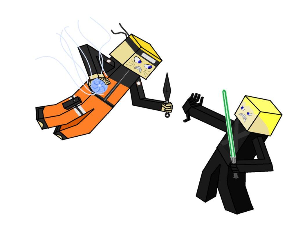 1020x784 Naruto Vs Luke Skywalker (Minecraft Styled) By Mecha Naruto Owner