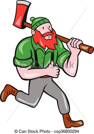 331x470 Paul Bunyan Lumberjack Axe Running Cartoon. Illustration Of Eps