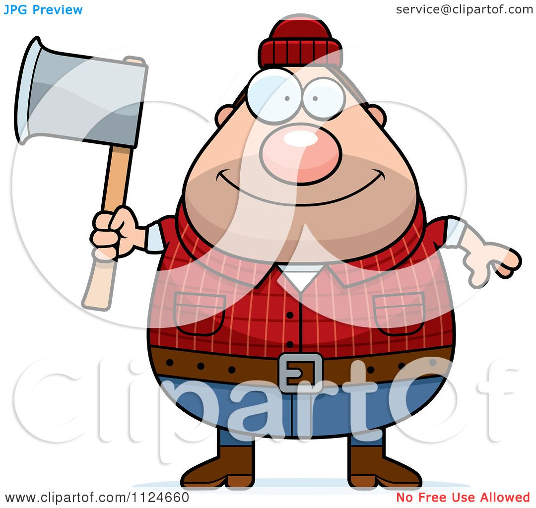 1080x1024 Cartoon Of A Happy Chubby Male Lumberjack Holding An Axe
