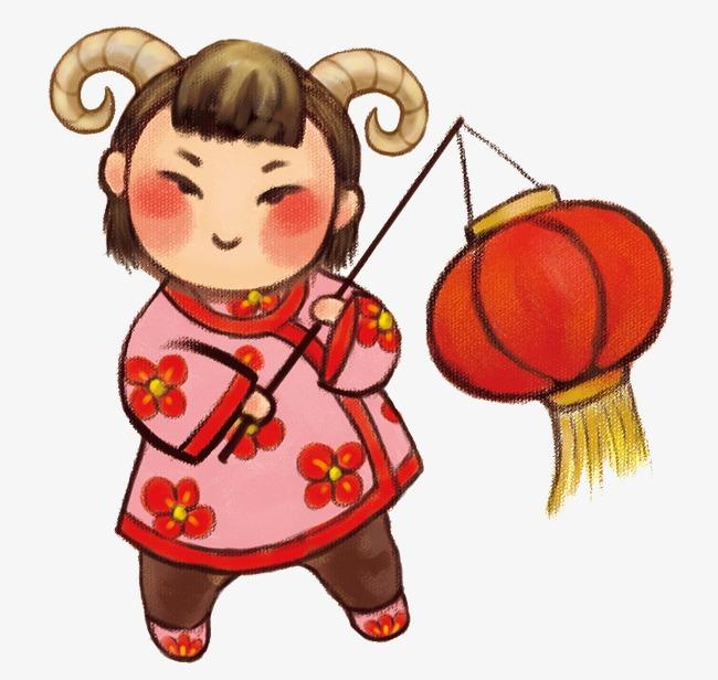 650x616 Chinese New Year,girl,lantern,cartoon, Chinese New Year, Girl