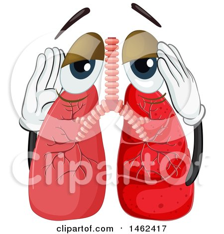 450x470 Clipart Of A Sick Human Lungs Mascot With Pneumonia