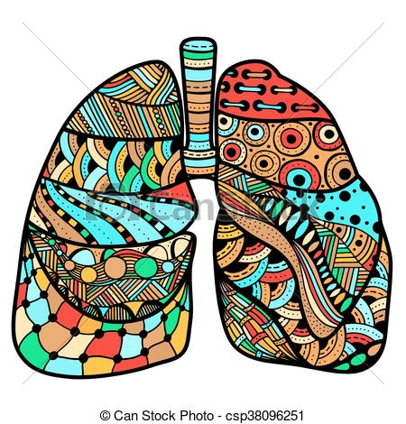 450x470 Colored Hand Drawn Sketched Lungs In Zentangle Style On Clipart