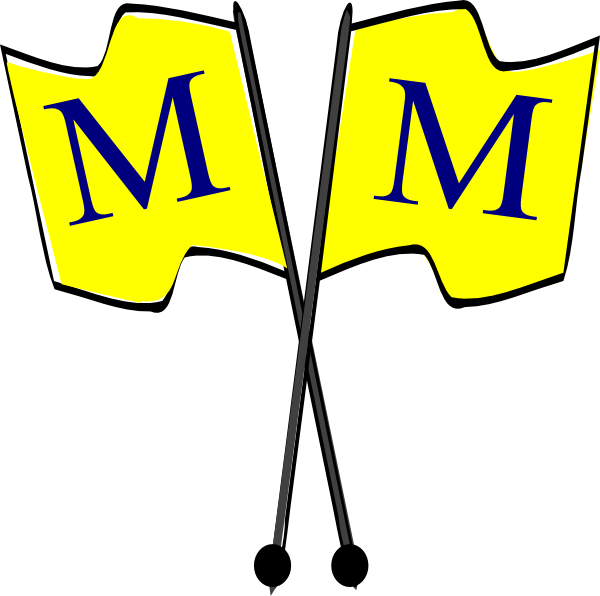 600x596 Crossed Yellow Flags With Blue M Clip Art