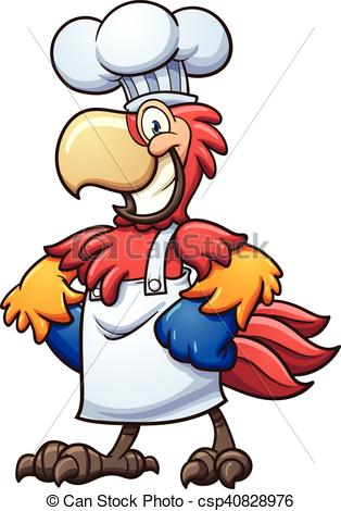 314x470 Chef Macaw. Chef Cartoon Macaw. Vector Clip Art Illustration