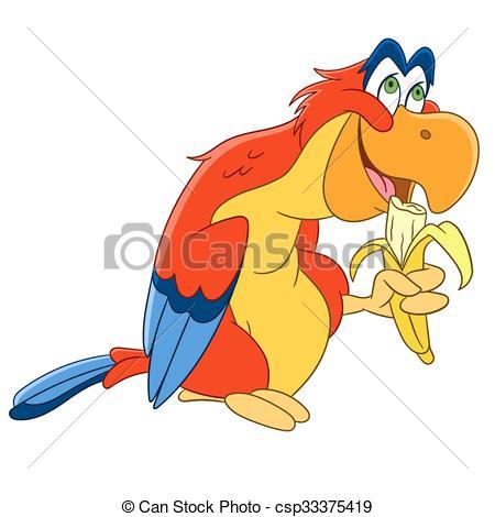450x470 Cute Cartoon Parrot. Cute And Happy Cartoon Macaw Bird