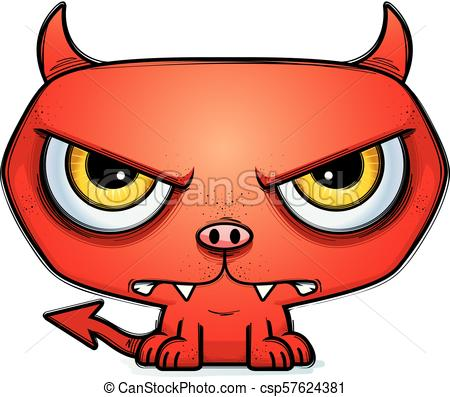 450x397 Mad Little Cartoon Devil. A Cartoon Illustration Of A Little