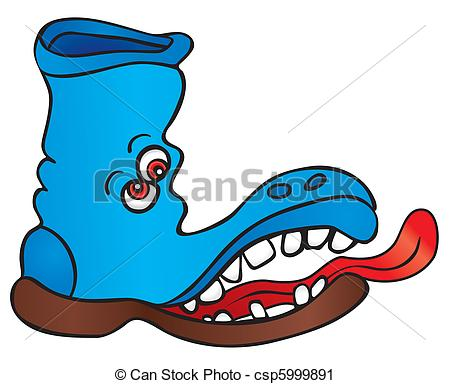 450x384 Mad Shoe. Crazy Shoe With Red Eyes And Long Tongue Vector Clip Art