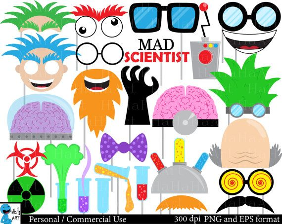 570x454 Mad Scientist Props Set Clipart Digital Clip Art By Hahahaart