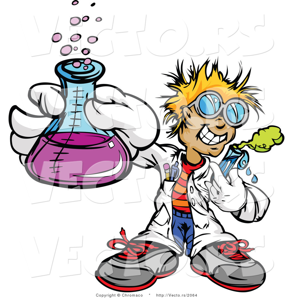 1024x1044 Cartoon Vector Of A Friendly Scientist Holding A Flask And Test