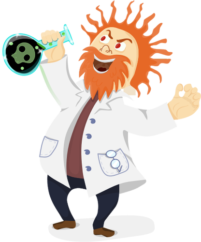 416x500 Vector Clip Art Of Mad Scientist With A Retort In His Hand