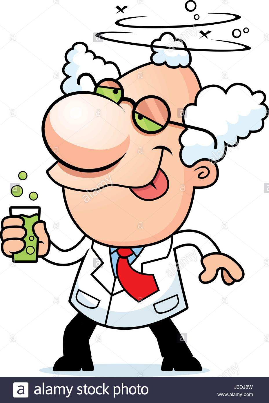 928x1390 An Illustration Of A Cartoon Mad Scientist Drinking A Bubbling