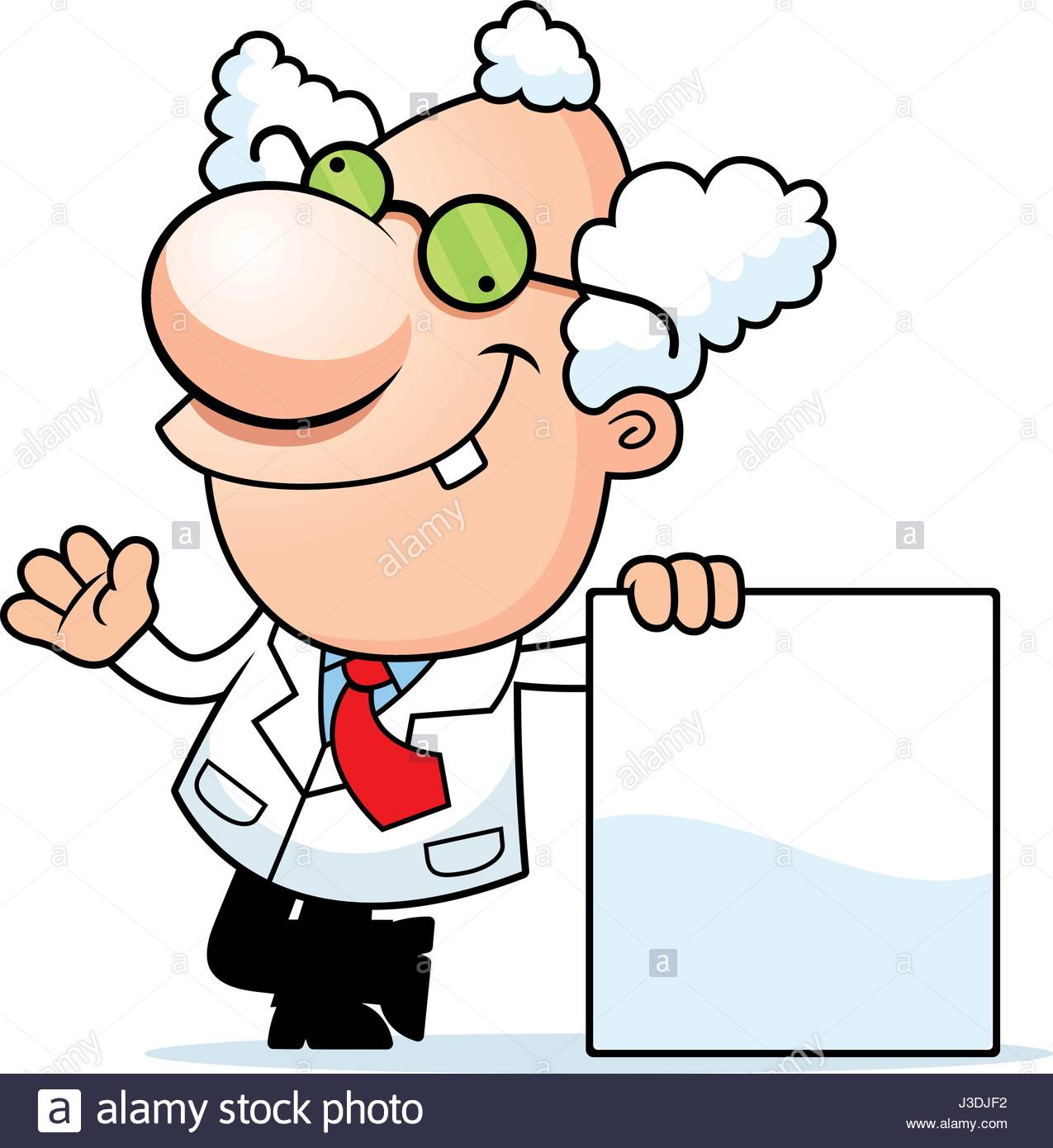 1275x1390 An Illustration Of A Cartoon Mad Scientist With A Blank Sign Stock