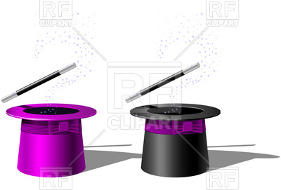 400x271 Magician Top Hat And Magic Wand Royalty Free Vector Clip Art Image