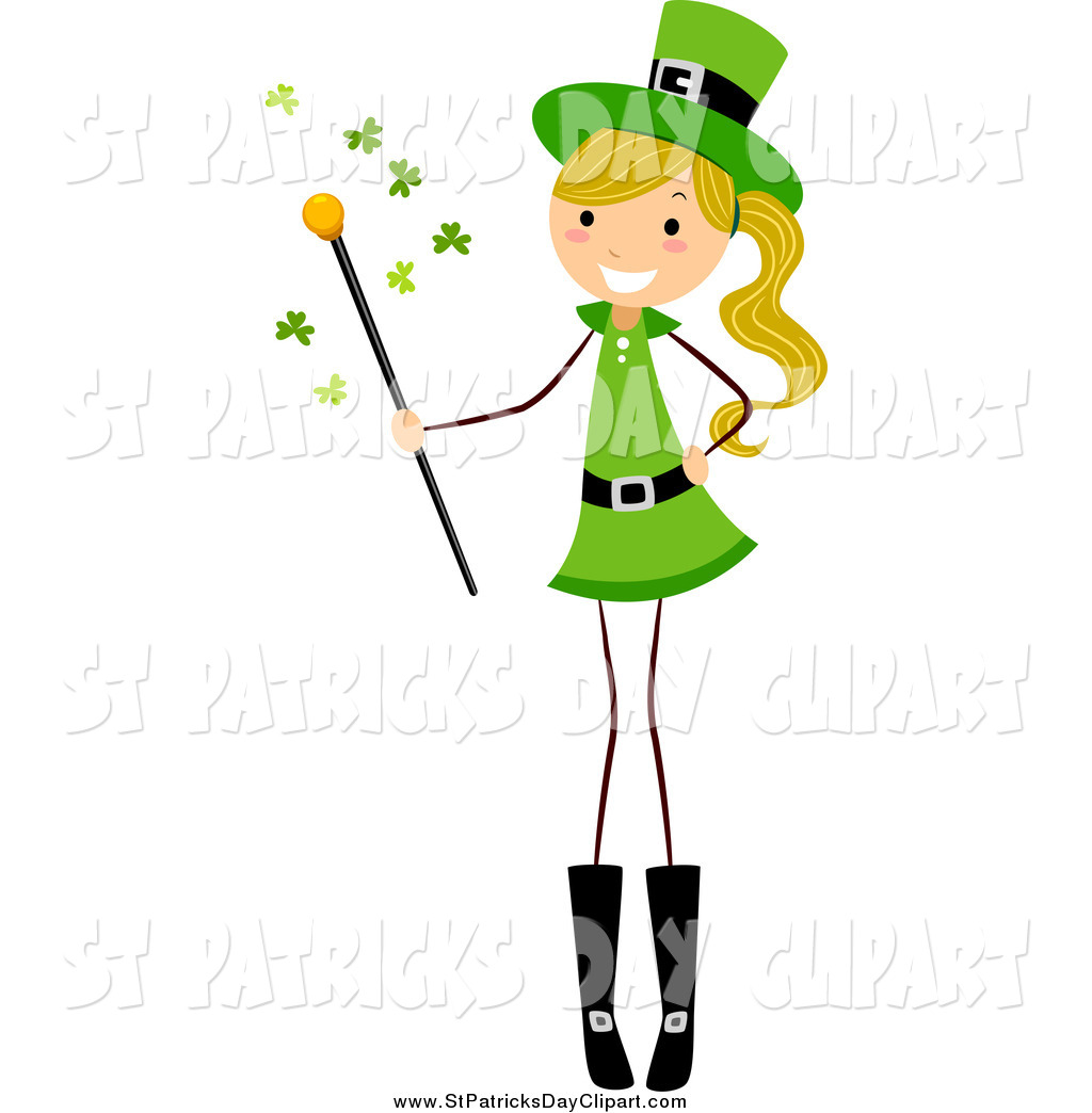 1024x1044 Clip Art Of A St Patricks Day Stick Girl With A Magic Wand By Bnp